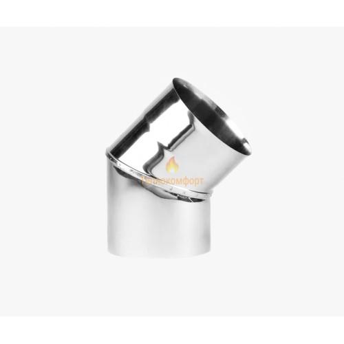 Опалення - Коліно димохідне Eco Mono AISI 201 45°, 0,8 мм, ᴓ 140 Тепло-Люкс - Фото 1