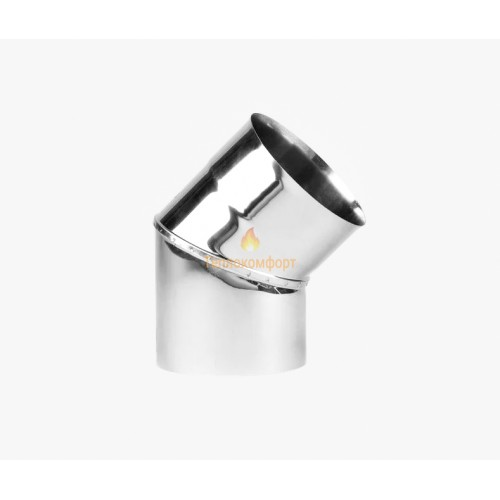 Опалення - Коліно димохідне Eco Mono AISI 201 45°, 0,8 мм, ᴓ 180 Тепло-Люкс - Фото 1