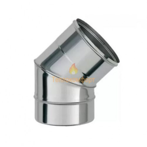 Опалення - Коліно димохідне Standart Mono AISI 304 45°, 0,5 мм, ᴓ 160 Тепло-Люкс - Фото 1