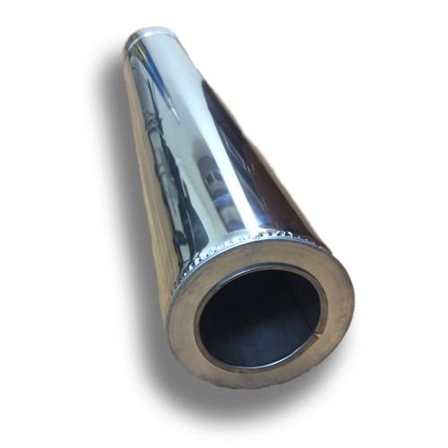 Отопление - Труба дымоходная Eco Termo AISI 201 0,25 м, нерж/нерж, 0,5 мм, ᴓ 120/180 Тепло-Люкс - Фото 1