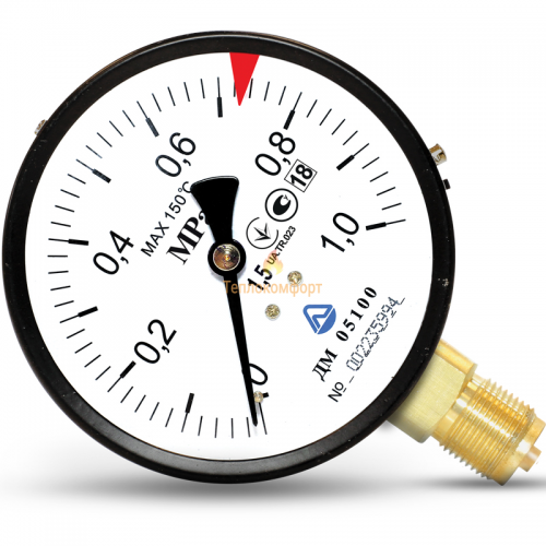 Электромеханика - Манометр общего назначения ДМ 05-01 63 мм 0,06 МПа-1,5-М12×1,5 - Фото 1