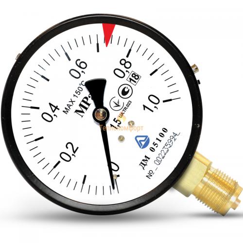 Электромеханика - Манометр общего назначения ДМ 05-01 63 мм 0,4 МПа-1,5-М12×1,5 - Фото 1