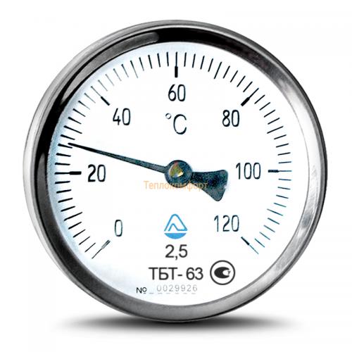 Электромеханика - Термометр биметаллический трубный ТБТ-63 0-150-2,5 - Фото 1
