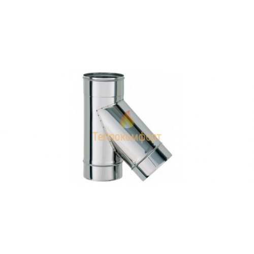 Опалення - Коліно димохідне Eco Termo AISI 201 45°, нержавійка/оцинковка, 0,5 мм, ᴓ 130/200 Тепло-Люкс - Фото 1