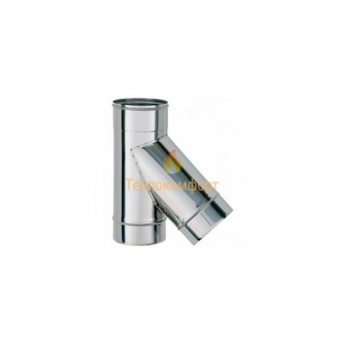 Опалення - Коліно димохідне Eco Termo AISI 201 45°, нержавійка/оцинковка, 0,8 мм, ᴓ 130/200 Тепло-Люкс - Фото 1
