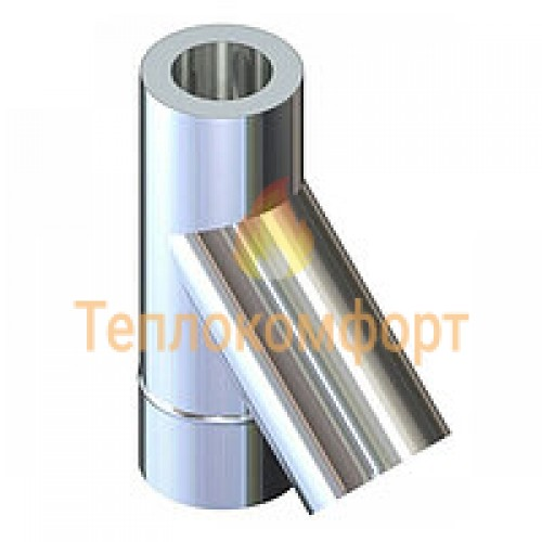 Отопление - Тройник дымоходный Eco Termo AISI 201 45°, нерж/оц, 0,8 мм, ᴓ 200/260 Тепло-Люкс - Фото 1