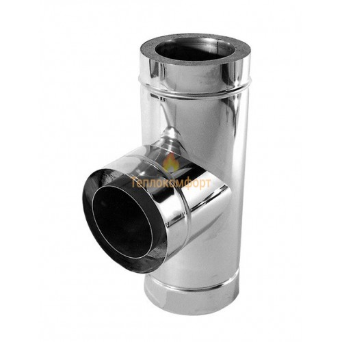 Отопление - Тройник дымоходный Premium Termo AISI 321 87°, нерж/нерж, 1 мм, ᴓ 200/260 Тепло-Люкс - Фото 1