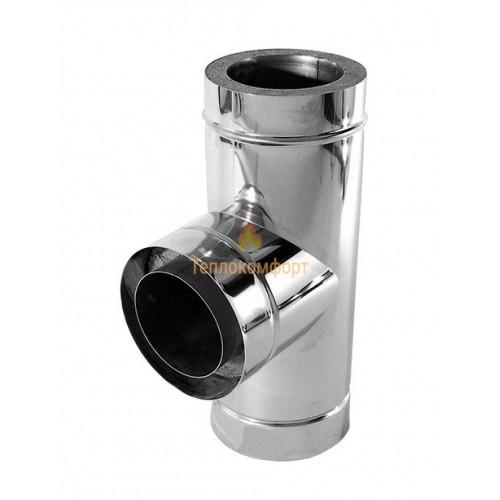 Отопление - Тройник дымоходный Premium Termo AISI 321 87°, нерж/оц, 0,8 мм, ᴓ 140/200 Тепло-Люкс - Фото 1