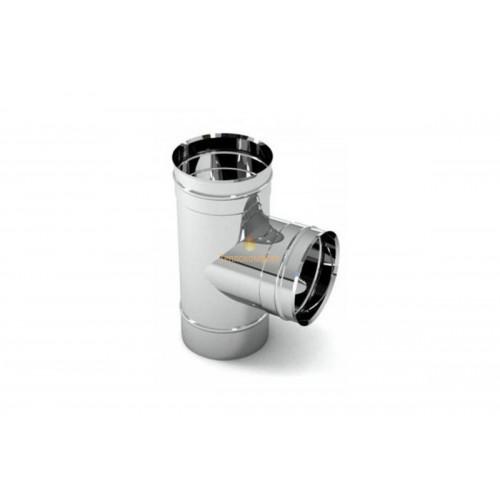 Опалення - Трійник димохідний Eco Mono AISI 201 87°, 0,5 мм, ᴓ 100 Тепло-Люкс - Фото 1